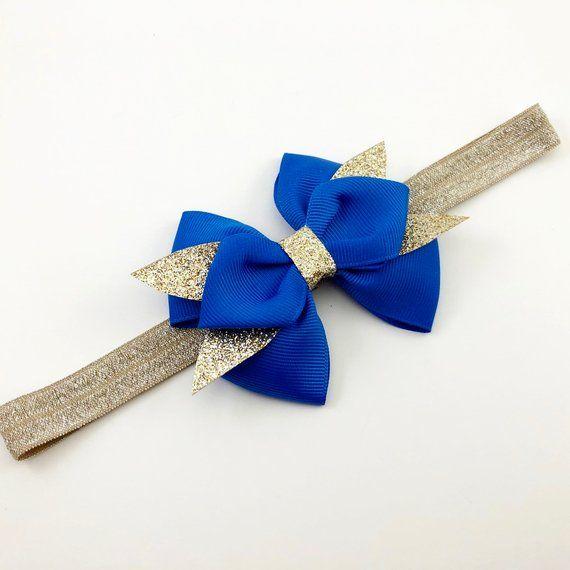 Königsblau Erbschleife. Blau Gold Schleife. Blaue Silber