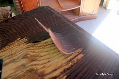 tutorial on how to remove veneer from furniture.