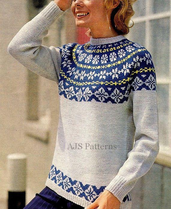 PDF C295 Ladies Dramatic Nordic Style Fair Isle Ski Sweater with Roll Neck Vintage Knitting Pattern Digital Download