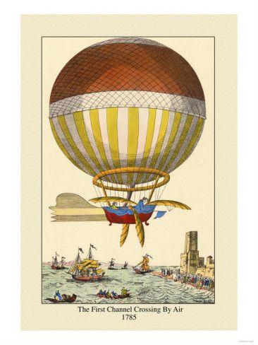 Hot Air Balloon Old Aviation Poster Vintage Style Print Le Ballon