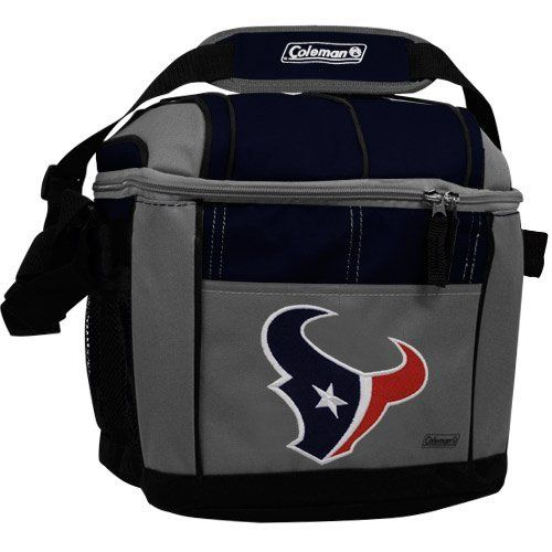 NFL Houston Texans 24 Can Soft Sided Cooler by Licensed Products. $19.99. Show your team spirit at the game, on the shore or poolside with this Coleman branded 24 can soft sided cooler.  This highly functional cooler predominatly showcases your favorite team's embroidered full team colored logo.