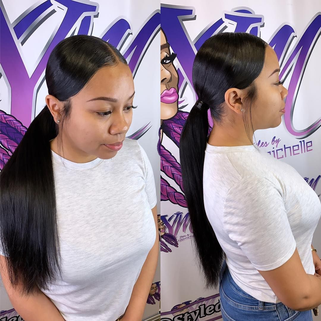 Hairstylist Braidbae On Instagram Low Ponytail Middle Part Los Angeles 1st 5th Low Ponytail Hairstyles Curly Hair Trends Slick Ponytail