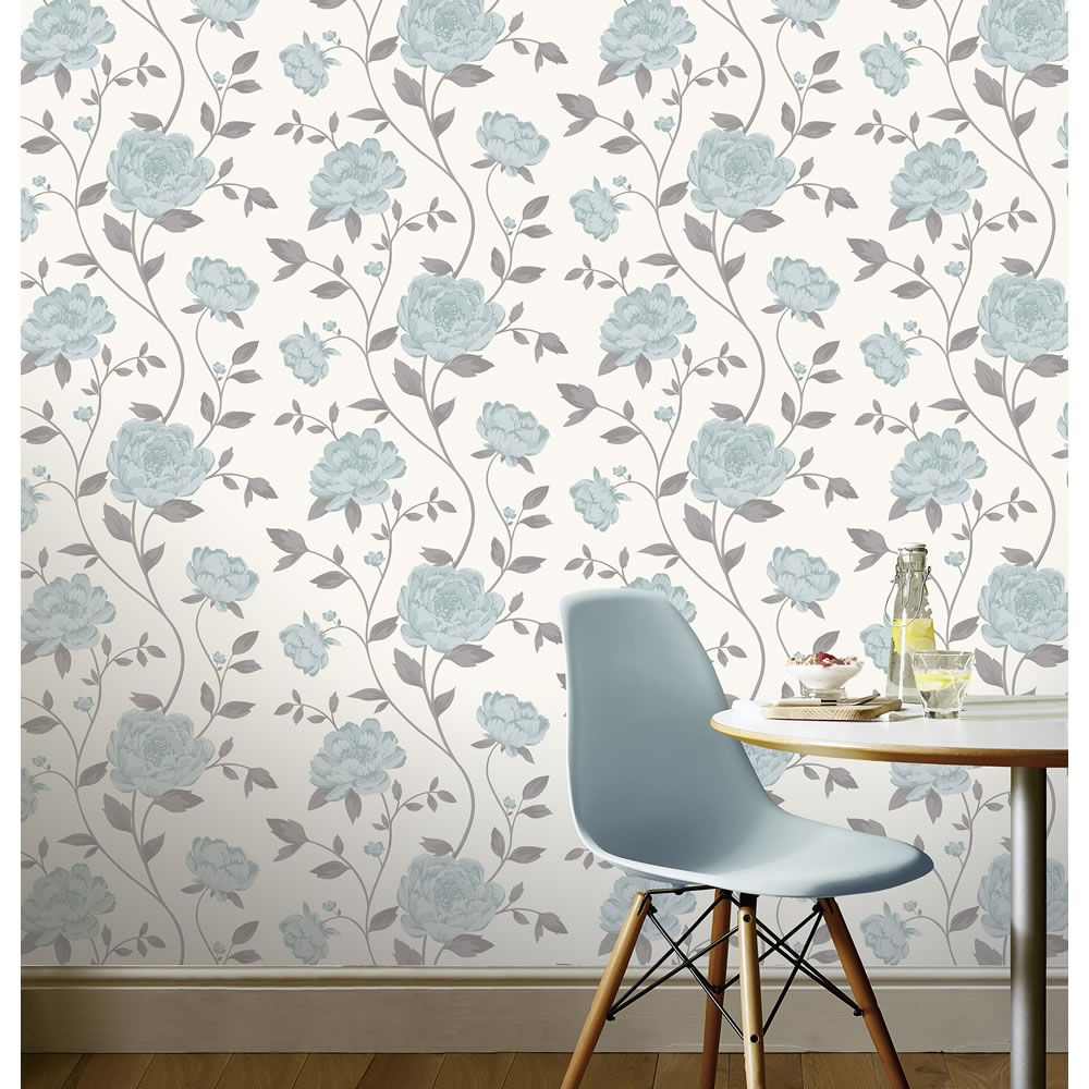 Isabel Bloom Teal Wallpaper Teal wallpaper, Feature