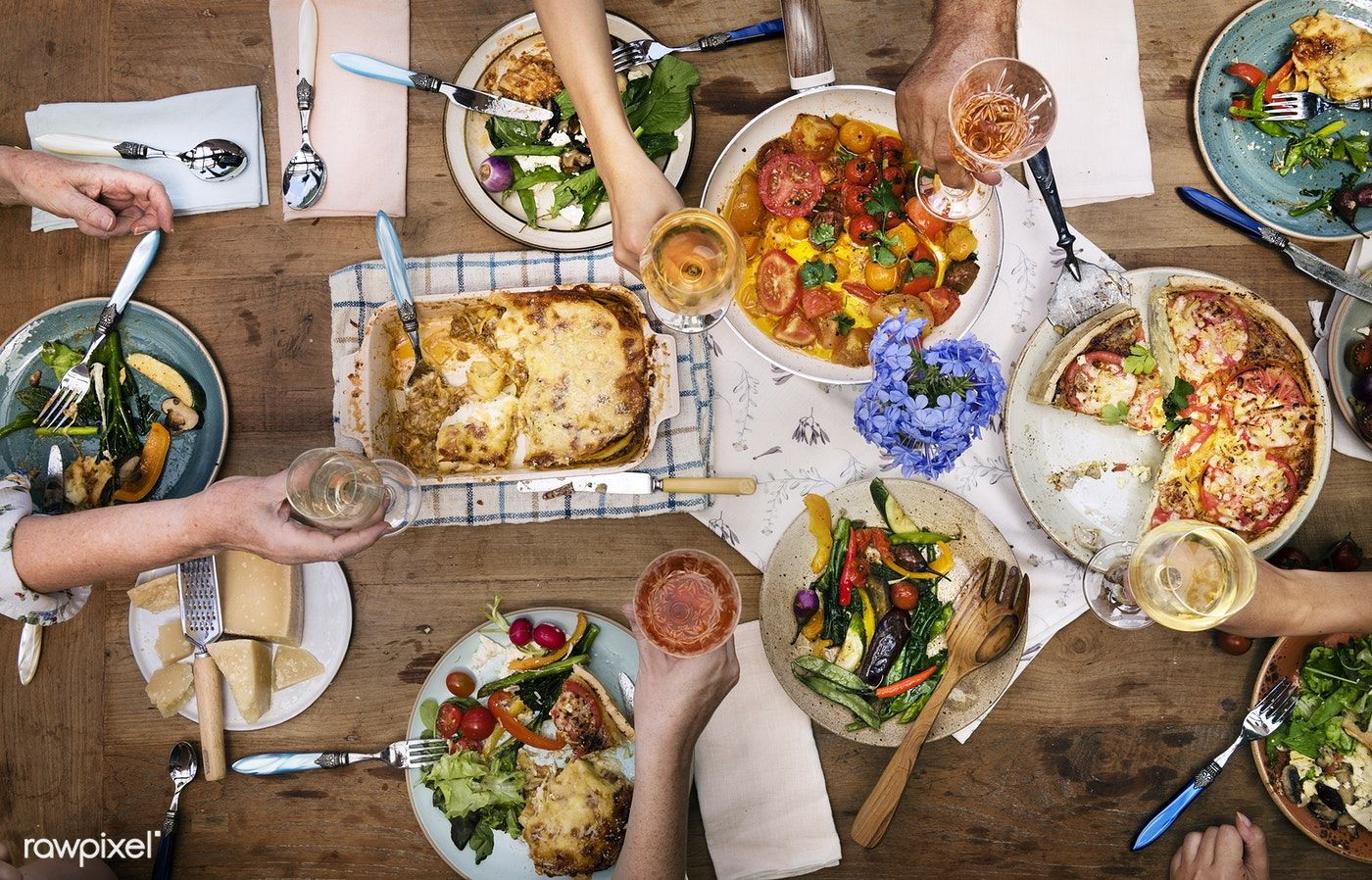 Download Premium Photo Of Top View Of A Mediterranean Dinner Table