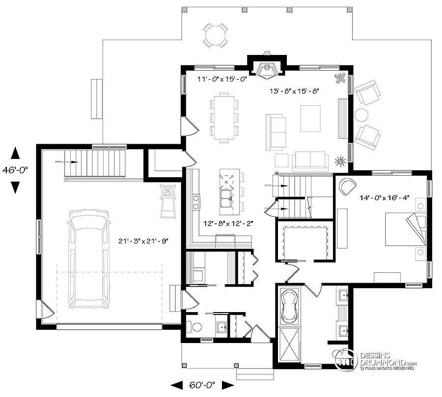 W3914-V5 - Superbe maison genre chalet, grande chambre des maîtres - plan de maison design