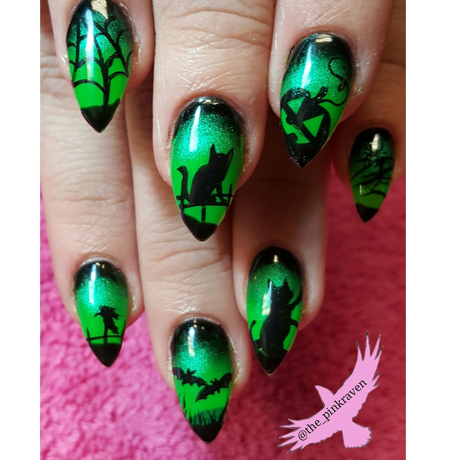 Lime Green Halloween Nails Hand Painted Nail Art Cats Bats Crows Spider Web Dead Tree Pumpkin Halloween Nail Designs Halloween Nail Art Witch Nails