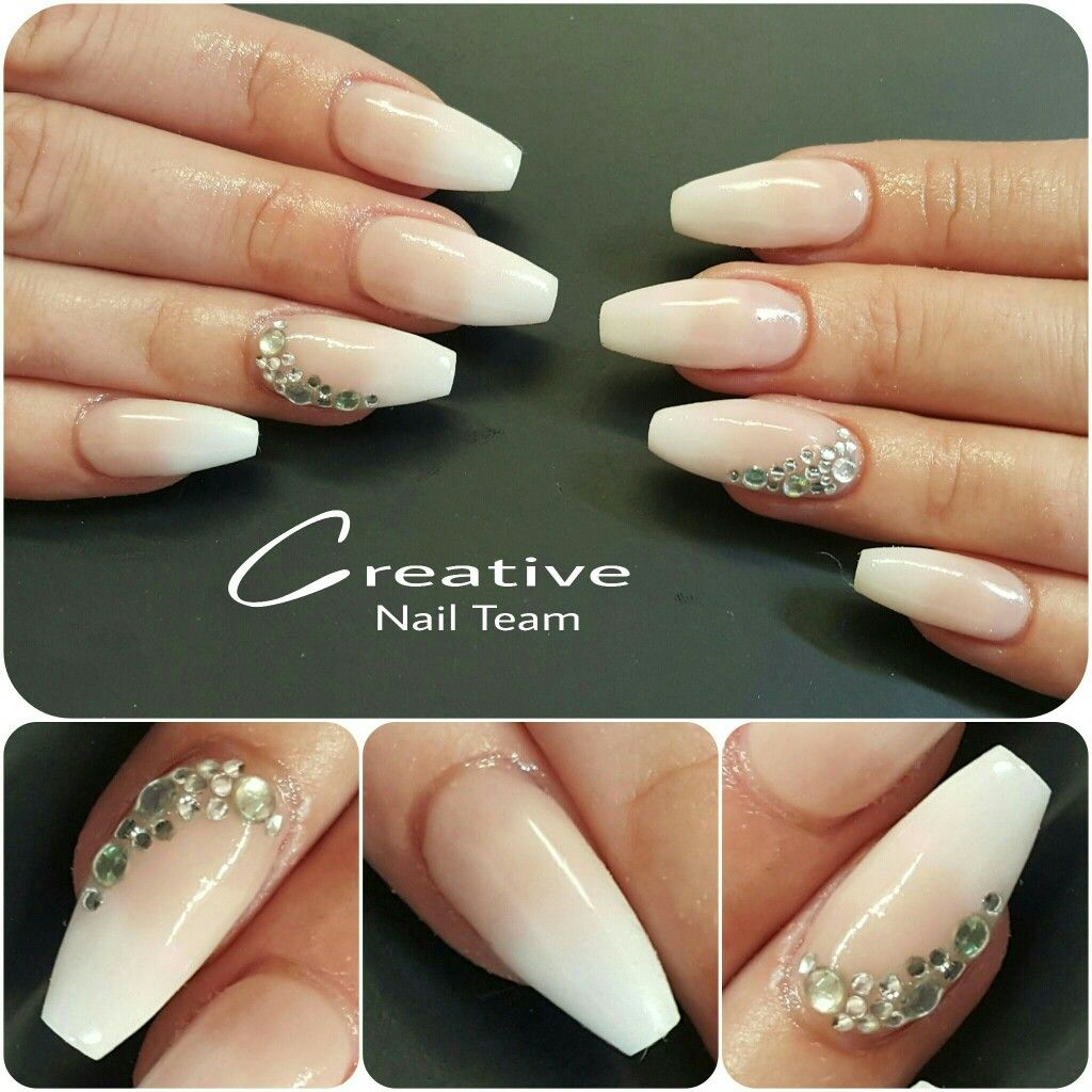 French fade ballerinas with gems | NAILS now | Pinterest | Acrylic ...