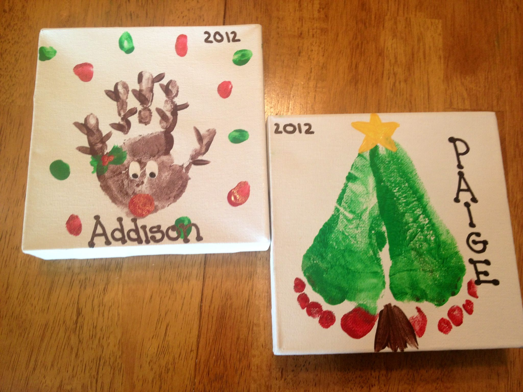 Christmas Handprints and footprint designs. Fun