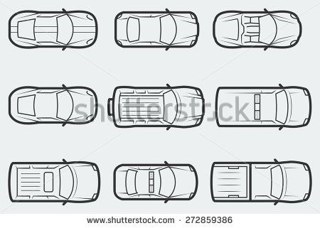 vector cars in outline style, top view stock vector lettering in Car Accident Diagram Top View vector cars in outline style, top view stock vector