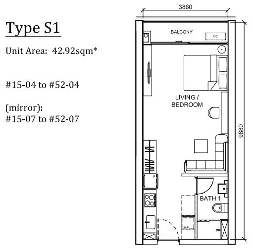 Peak-Cambodia-Residences-Floor-Plan-Studio 43sqm House plans - fresh 37 blueprint apartments