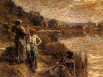 Washerwomen on the Banks of the Marne - Léon Augustin Lhermitte - 	Drawing - pastel  Pastel on paper