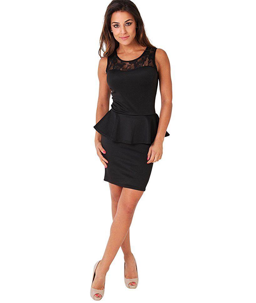 KRISP Damen Kleid Minikleid mit Schößchen Stretch Spitze ...