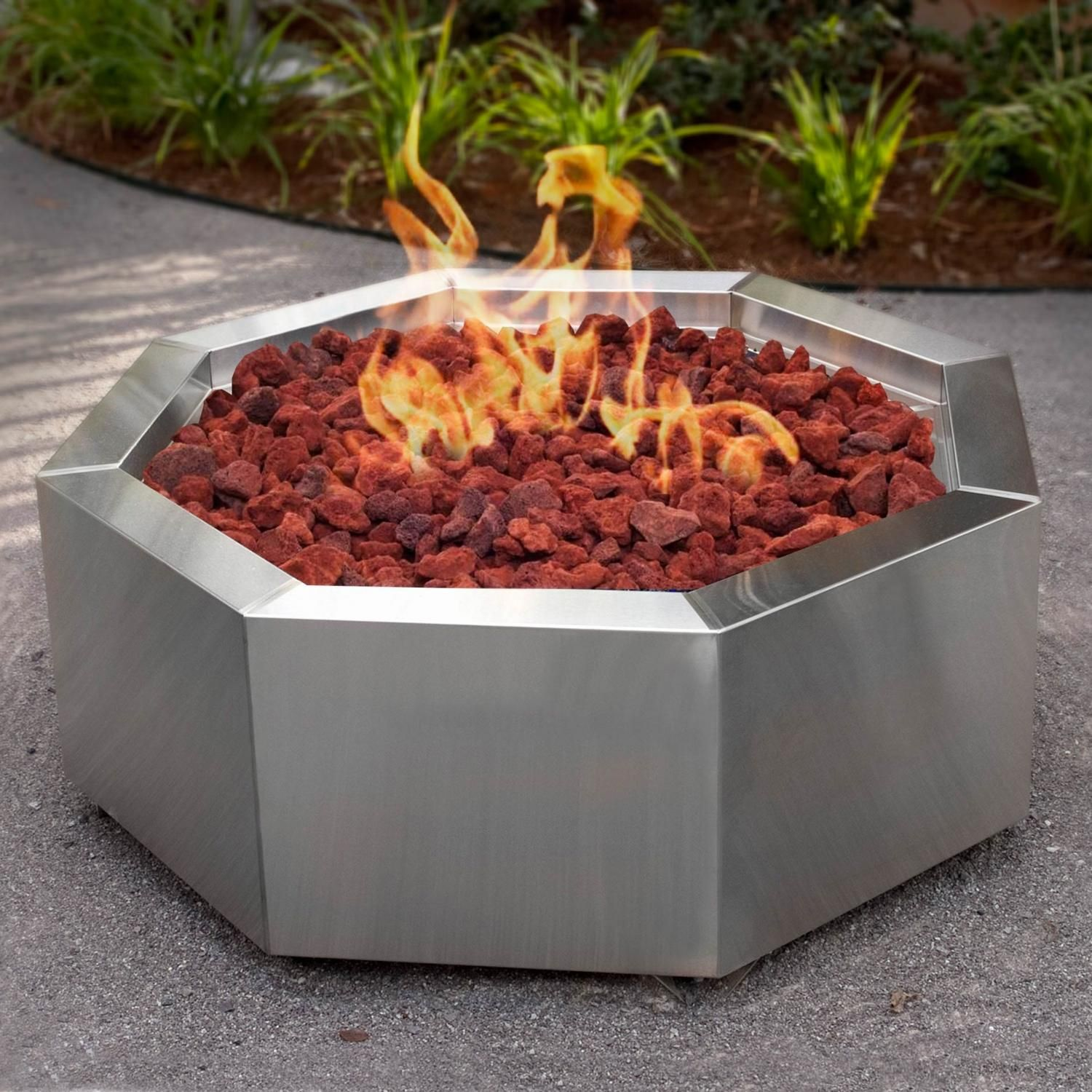 Lakeview Outdoor Designs 42 Inch Stainless Steel Octagon Fire Pit Natural Gas Bbqguys Fire Pit Fire Pit Materials Stainless Steel Fire Pit