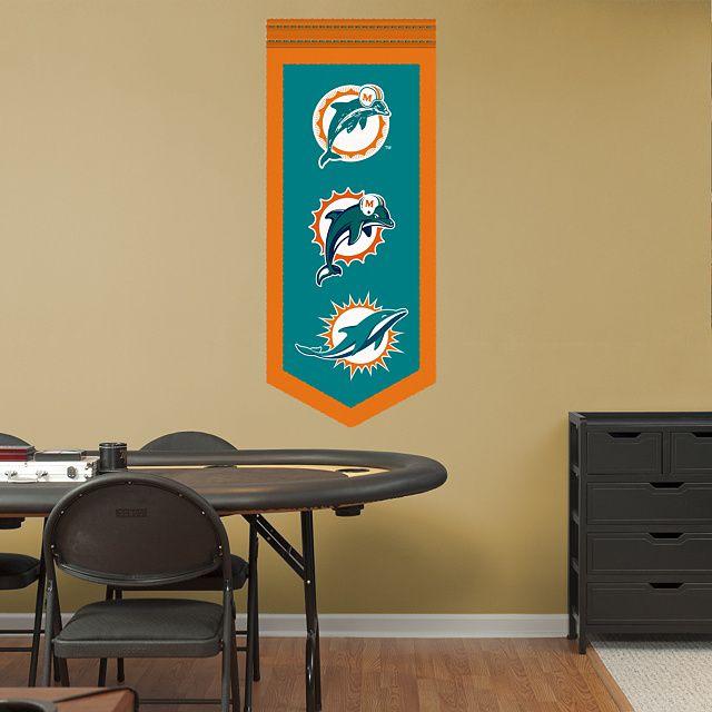 Miami Dolphins Fathead Wall Decals u0026 More | Shop NFL Fathead & Miami Dolphins Logo Evolution Banner REAL.BIG. Fathead Wall Graphic ...