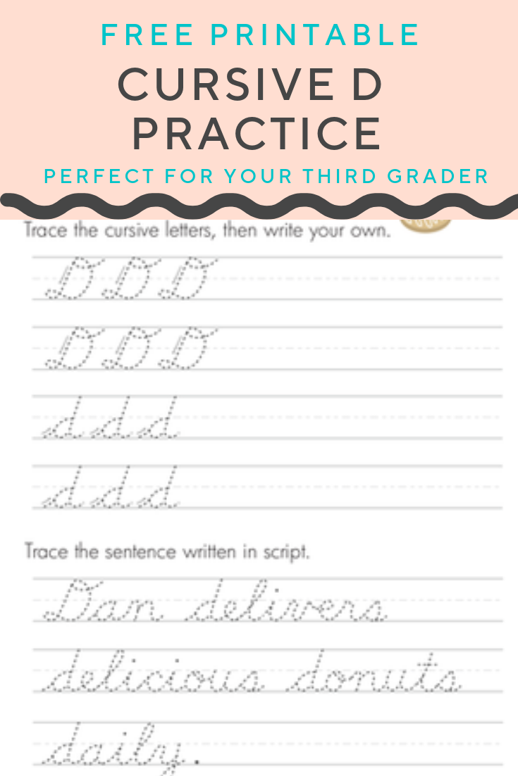 small resolution of Cursive D   Worksheet   Education.com   Elementary writing