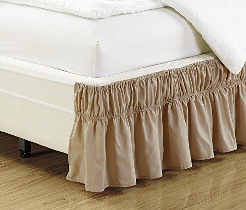 Wrap Around Style Easy Fit Elastic Bed Ruffles For King /& Queen Size Beds Beige