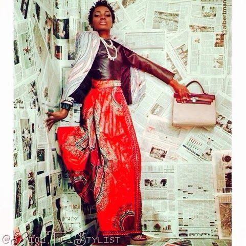 Kiki's Fashion: Dashiki skirt n African Print blazer designed by K...
