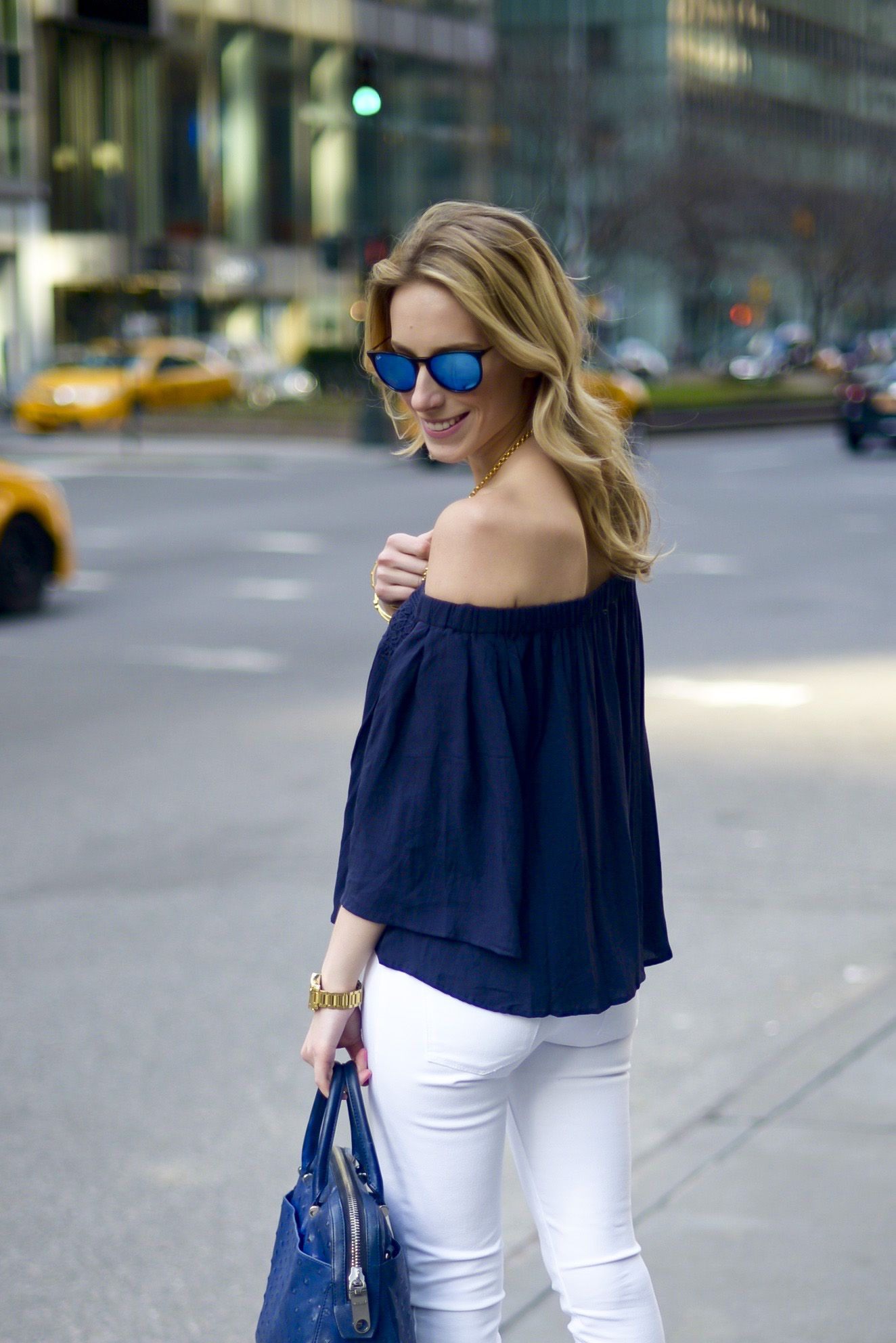Love this navy off shoulder top! | Update | Pinterest | White ...