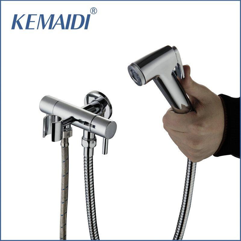 Kemaidi Special New Bathroom Bidet Faucet Toilet Torneira Hand Spray Wall Mount Dual Water Way Dual Handles Mixer Tap Bathroom Fixtures Bidet Faucets Faucet