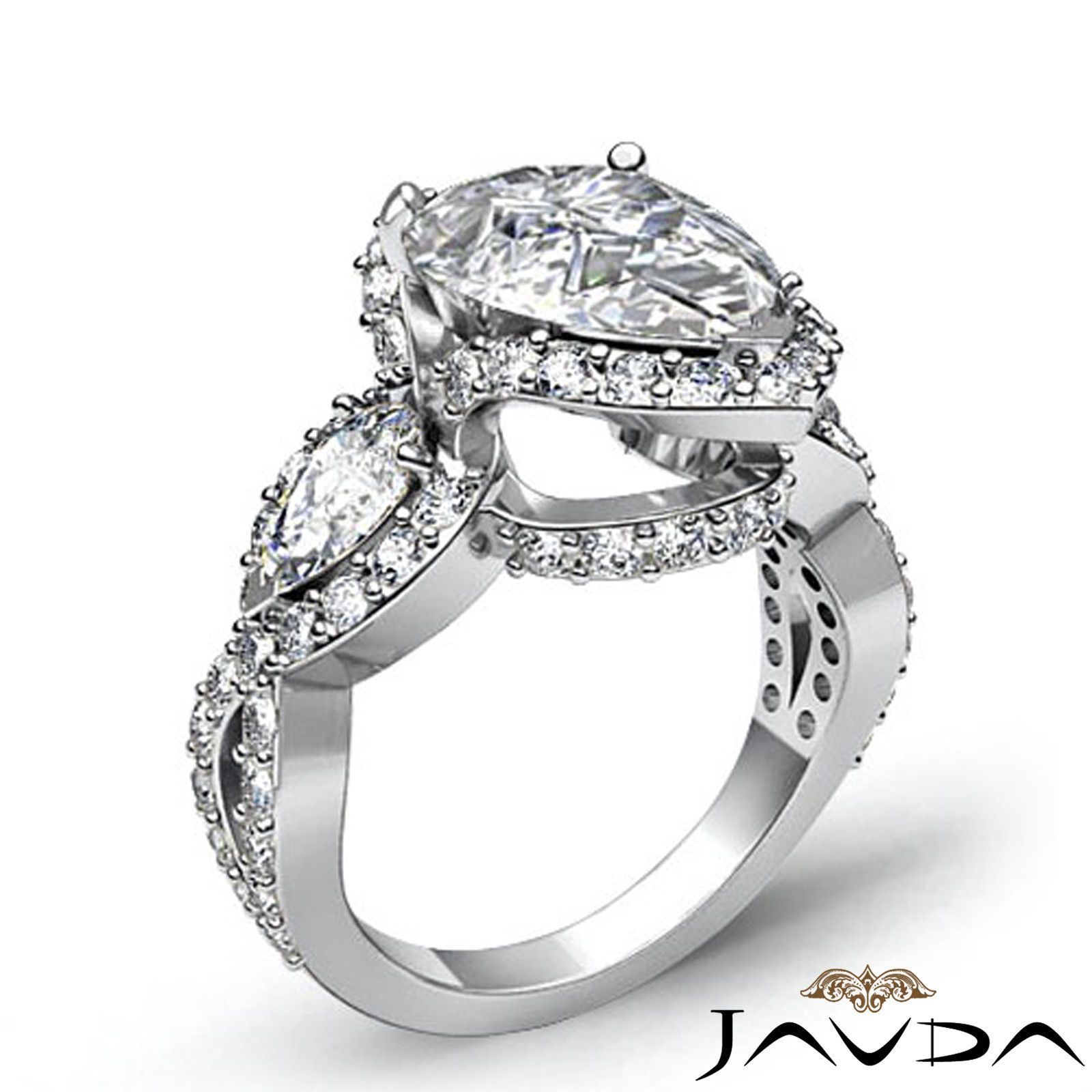 Pear diamond stone crosss shank engagement ring gia h si k