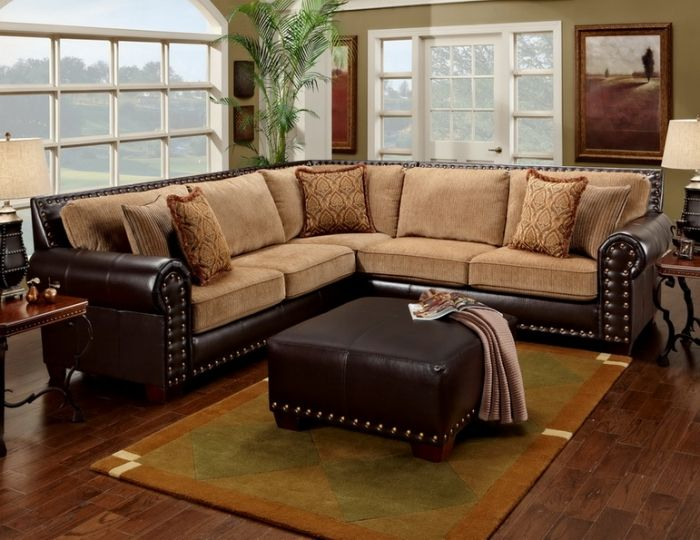 Leather Studded Sectional Home Rustic Sectional Sofas