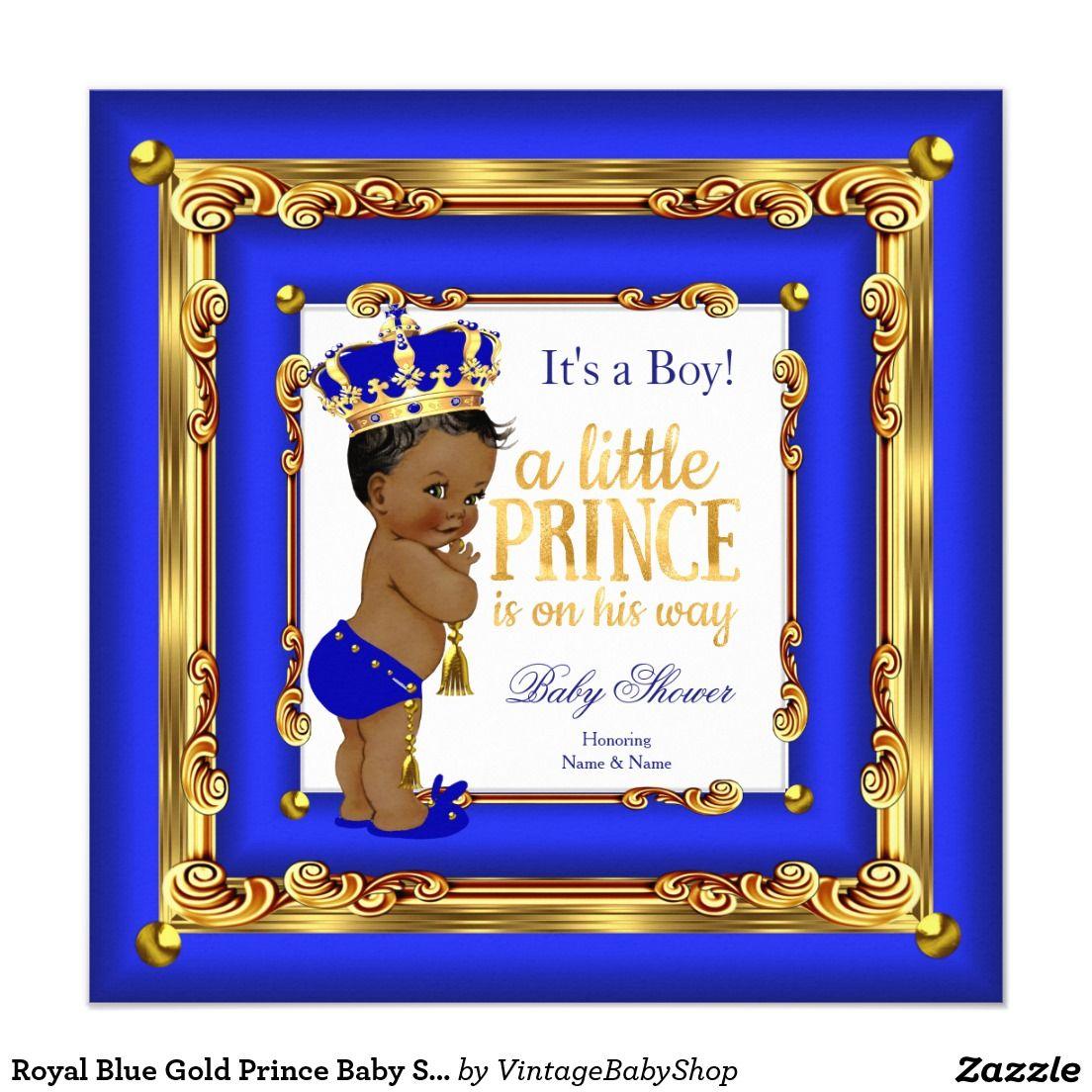 royal blue gold prince baby shower ethnic boy card