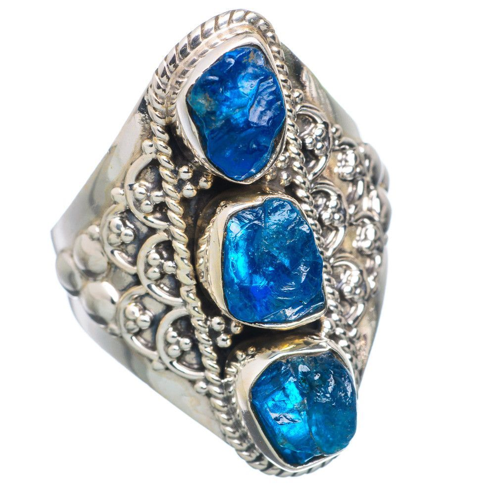 Rough Apatite 925 Sterling Silver Ring Size 8.25 RING690820