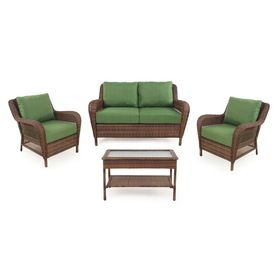Garden Treasures Sunset Harbor Brown Steel Patio Conversation Set With  Solid Green Cushions
