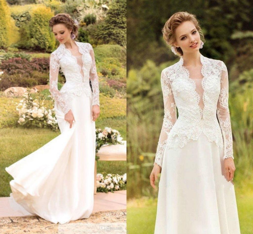 Photo of Newly Vintage Lace Wedding Dress Ivory Long Sleeve Evening …