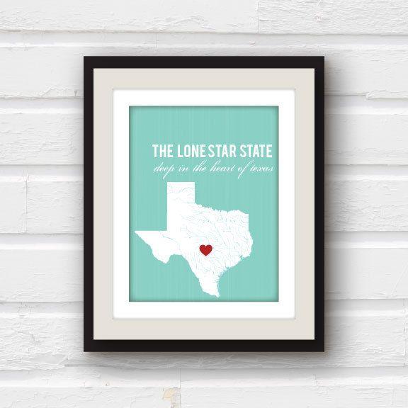 Texas Map State Art Austin Dallas Houston Fully Custom