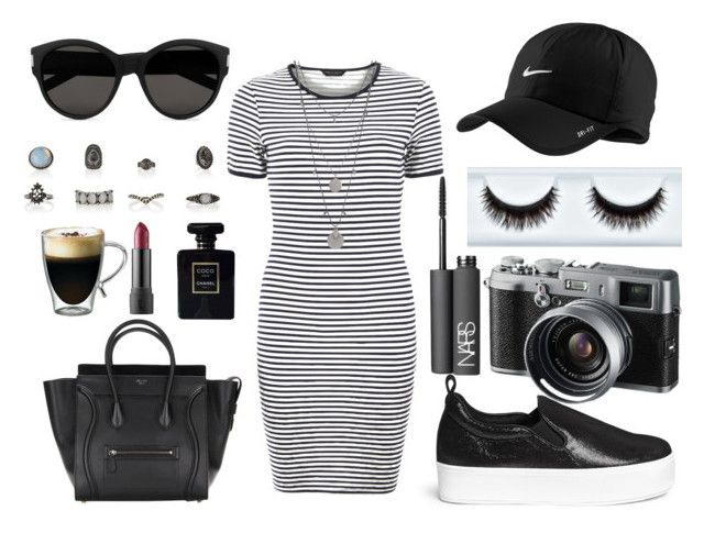 """""""Untitled #44"""" by hourhatam ❤ liked on Polyvore featuring Dorothy Perkins, Pedder Red, Yves Saint Laurent, Vince Camuto, NARS Cosmetics, Starfrit, Fuji, NIKE and Chanel"""