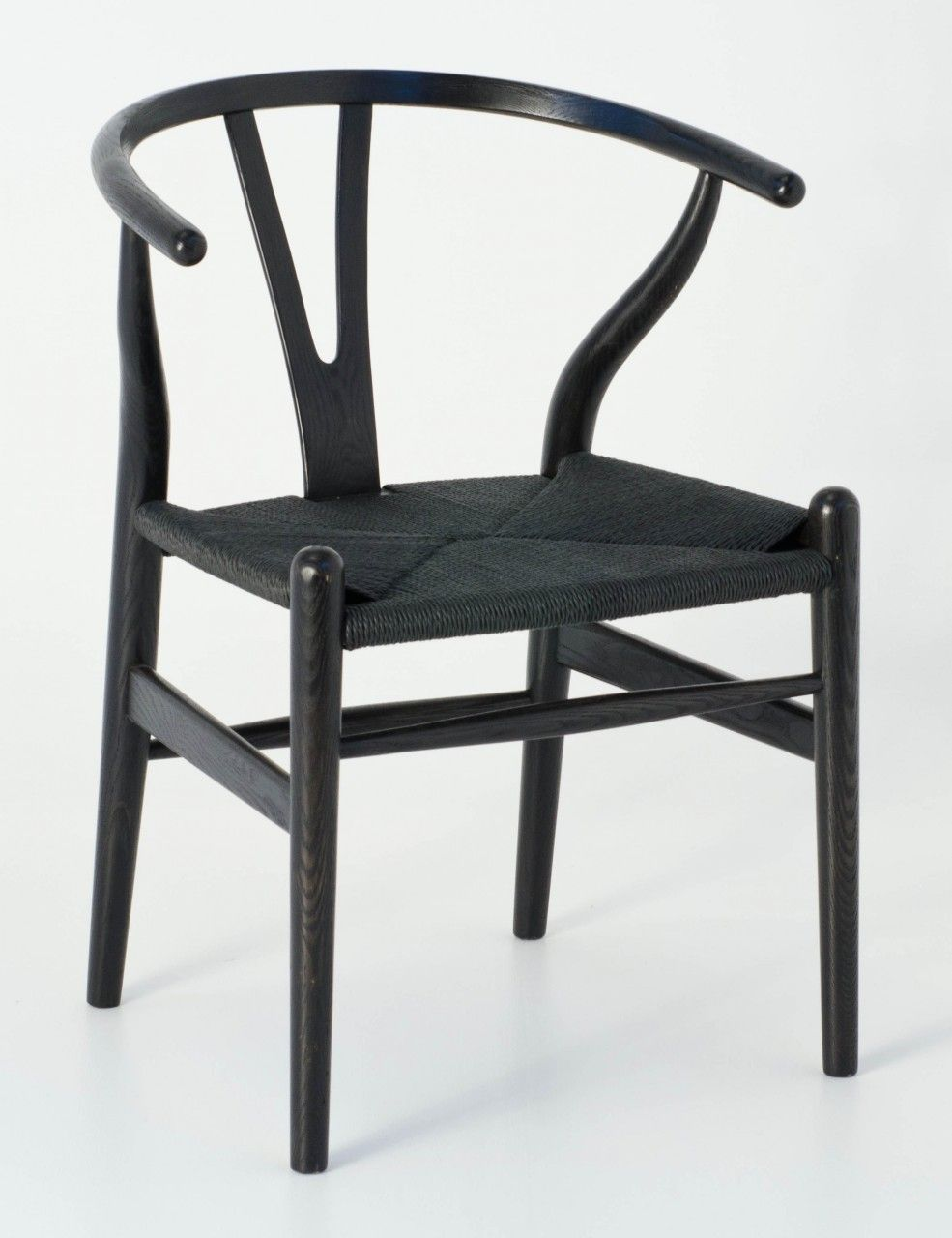 Milano Republic Furniture   Replica Hans Wegner Wishbone Chair   Black  Frame (grain Visible) Black Seat   Ash Timber, ...