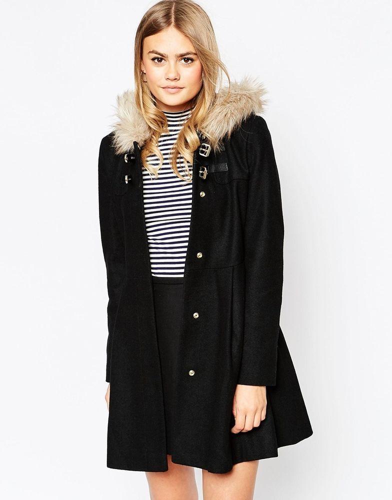 6b32a590d3b ASOS Wool Mix Flared Duffle Coat   Jacket with Faux Fur Hood UK 12 - EU 40  -US 8
