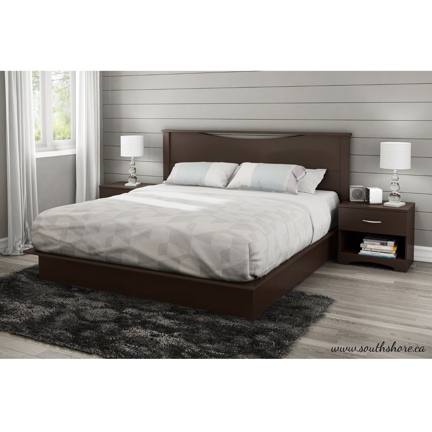 This King Size Modern Platform Bed With 2 Storage Drawers In Chocolate Has A Timeless Look A With Images Platform Bed With Drawers King Size Platform Bed King Platform Bed