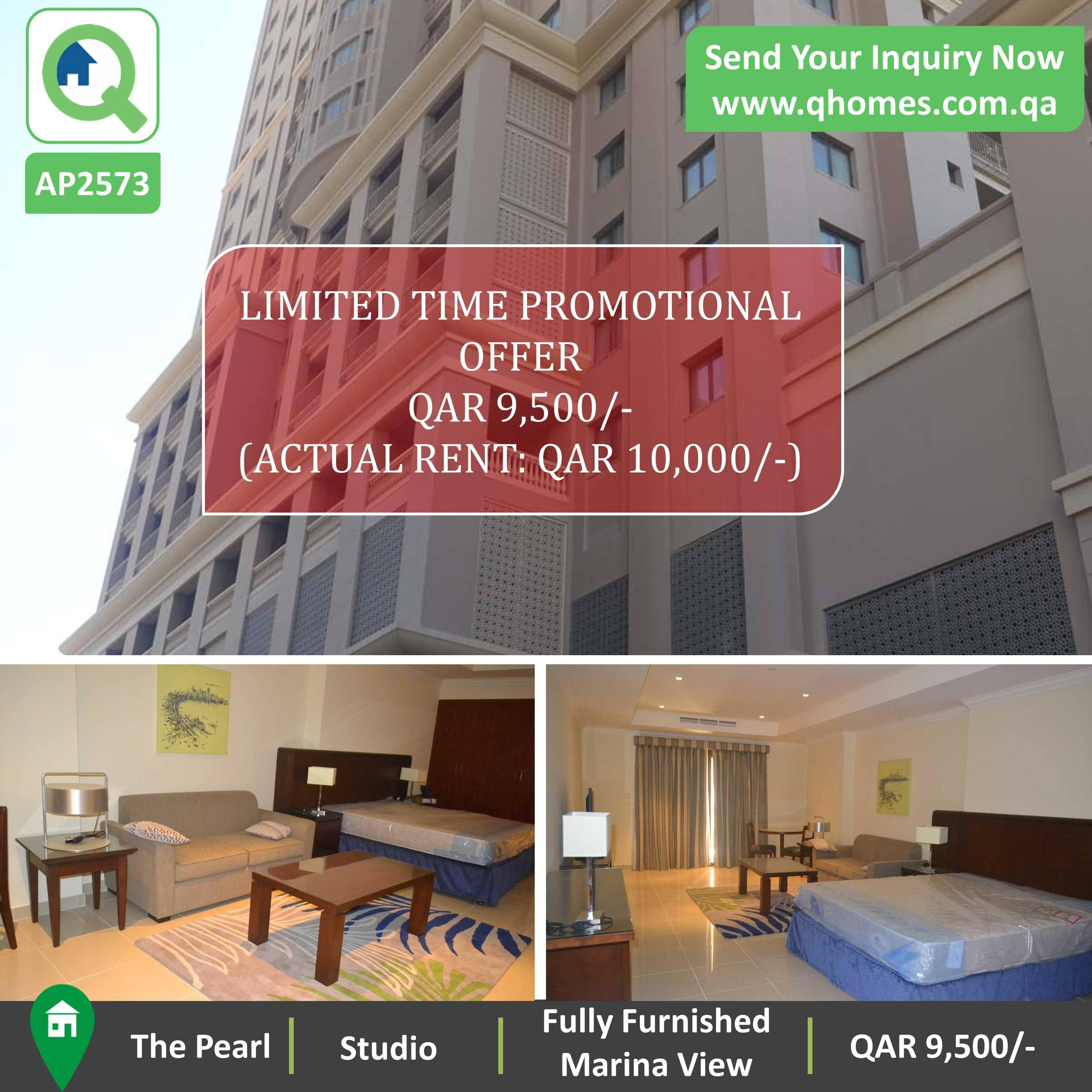 Real Estate Studio Apartments For Rent: Apartment For Rent In Pearl Qatar: Fully Furnished Studio
