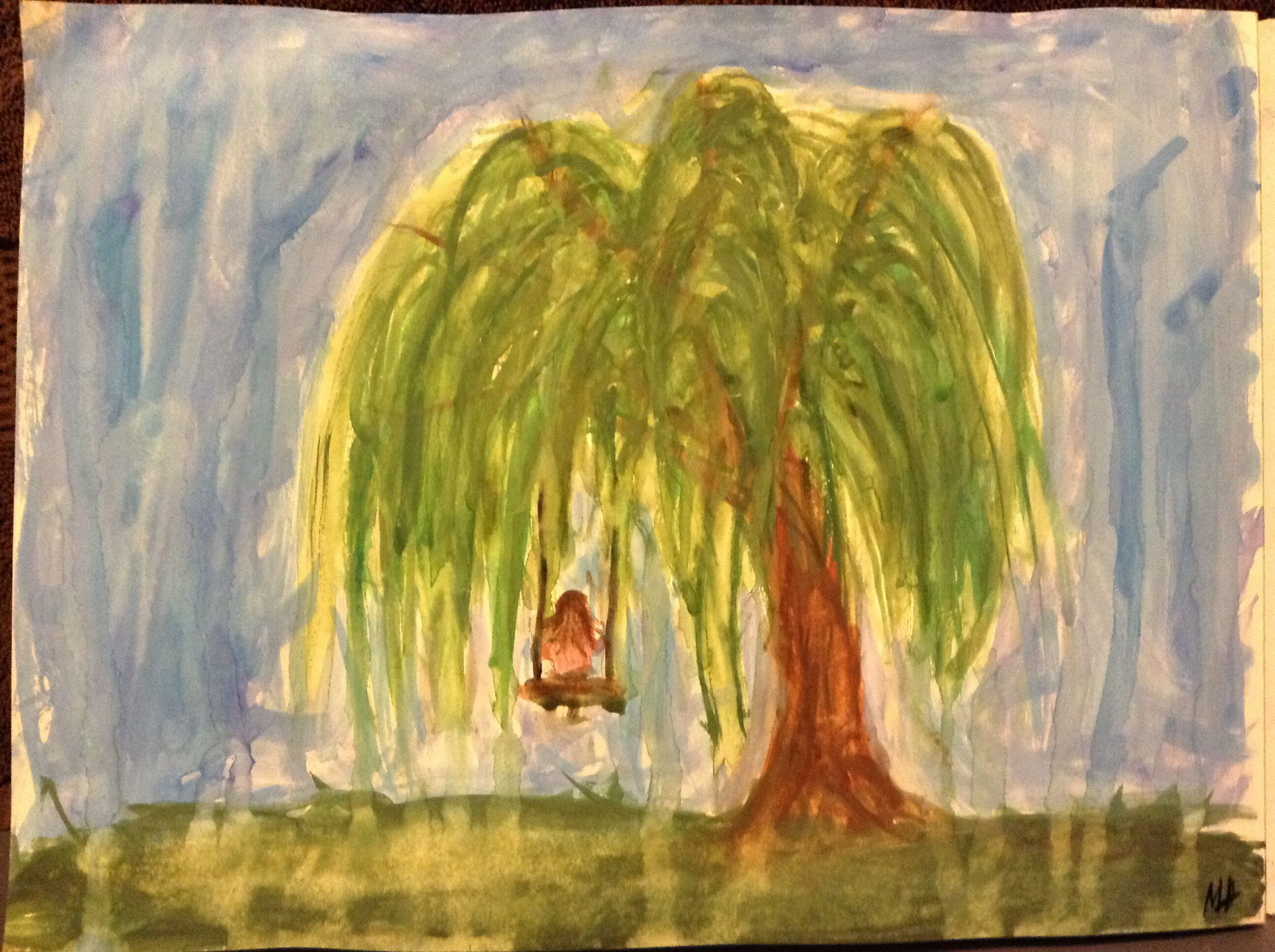 Weeping willow tree with swing watercolor painting!!!!! Base of it ...