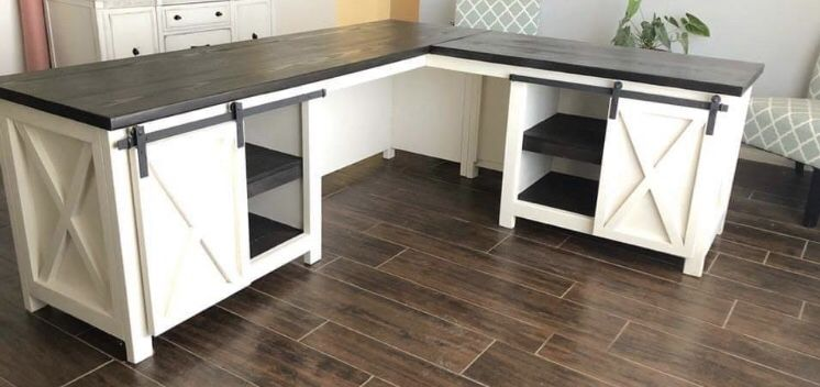 Sliding Barn Door Desk Door Desk Diy Office Desk Diy Desk Plans