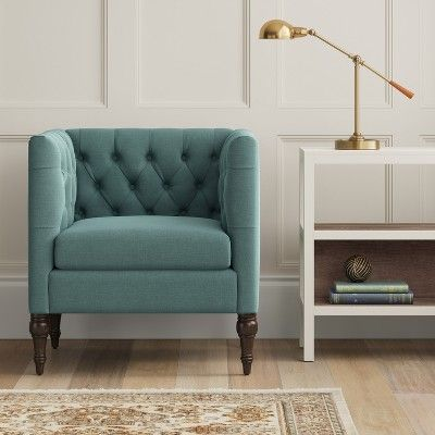 Best Accent Chairs Teal Blue Threshold Tufted Arm Chair 400 x 300