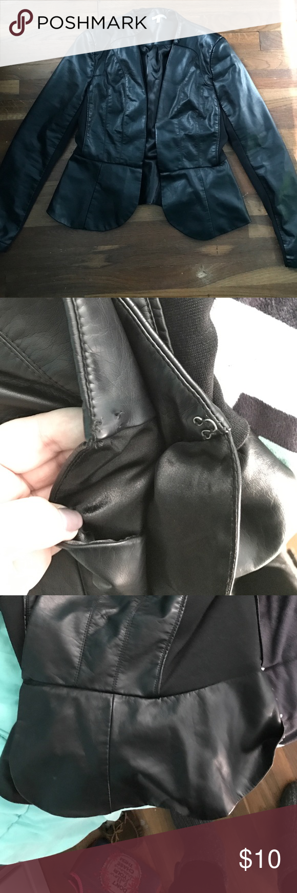 Leather peplum jacket peplum style leather jacket. clasp is broken. great for nights out. comfortable and stretchy Charlotte Russe Jackets & Coats Blazers
