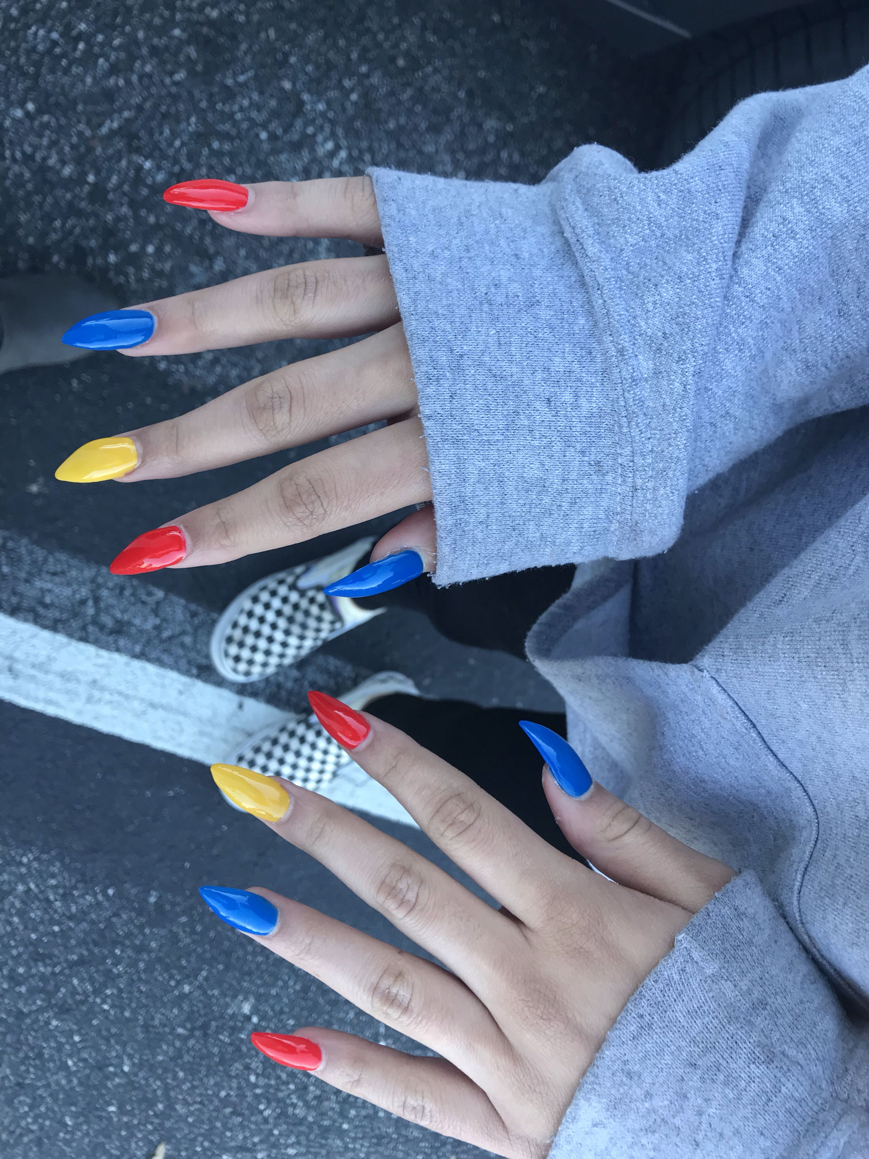 Primary Color Nails Acrylic Nails Stiletto Yellow Nails Design Yellow Nail Art