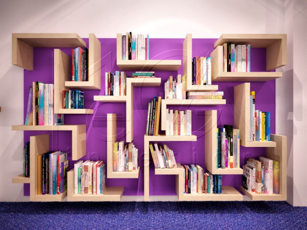 Library Design Awesome Bookcase Unique Shape Modern Interior With Purple Color