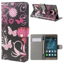 Huawei P9 kukkia ja perhosia puhelinlompakko.