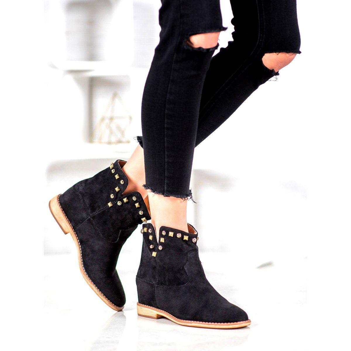 Bella Paris Kowbojki Z Dzetami Czarne Black Boots Women Boots Boot Shoes Women