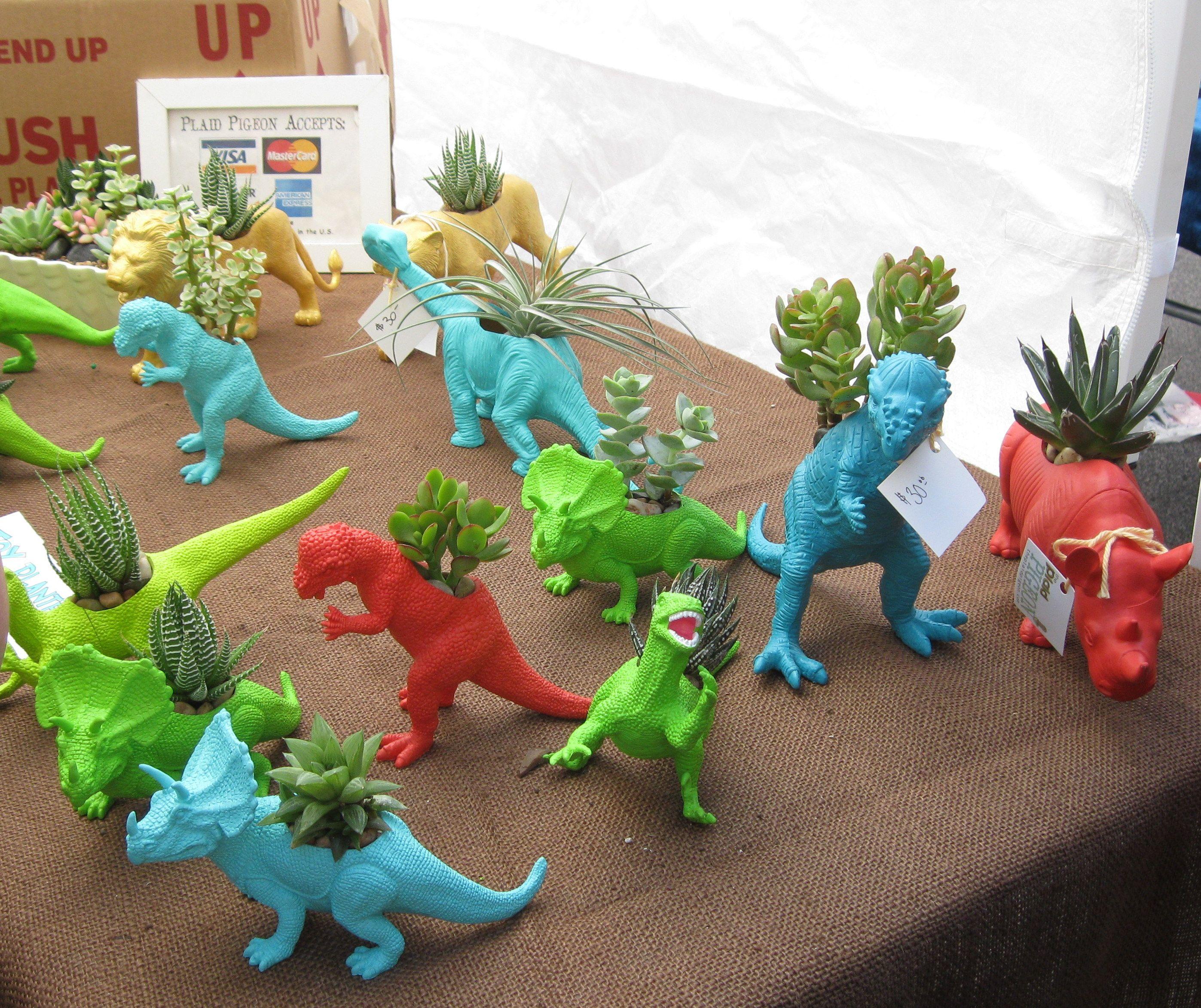 Dinosaur Succulent Planters = Pokemon For Moms