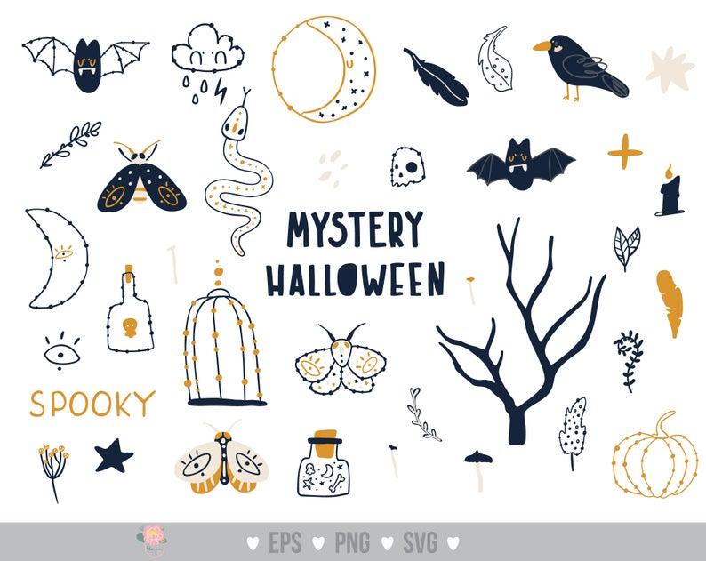 Mystery Halloween svg Pumpkin svg Skull svg Fall clipart Halloween potion bottles Bat clipart Halloween Items svg for cricut Commercial use