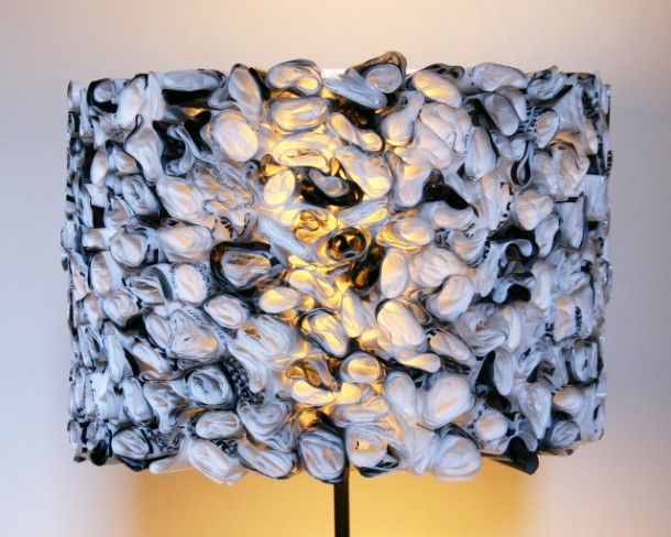 Recycle plastic bags into lampshade interesting!