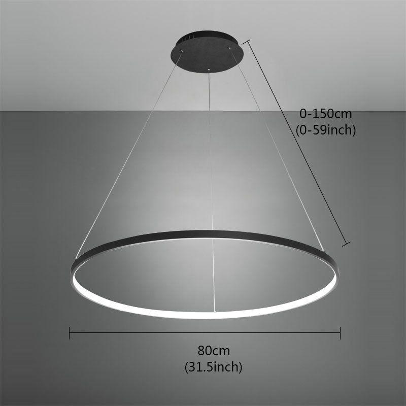 Design Led Pendelleuchte Modern Ring Design Schwarz im Wohnzimmer - led design wohnzimmer