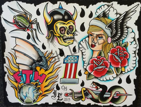 Ftw Traditional Tattoo Flash Painting Original By Joshlambtattoo