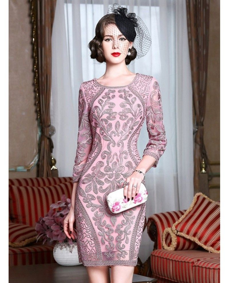 Classy Pink Embroidery Short Wedding Guest Dress 3/4 Sleeves Dress ...