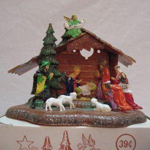 Vintage Hard Plastic Nativity Scene Made In Hong Kong Original Box 1950s Very Good Condition 14769 Vintage Christmas Ornaments Retro Christmas Old Christmas